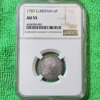 1787 Great Britain 6 Pence Beautiful Toning with LUSTER NGC Graded AU55