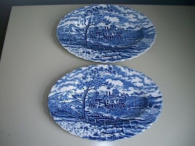 """Lot of 2 Myott Blue Royal Mail 9"""" Oval Pickle Relish Dish Dishes Made in England"""
