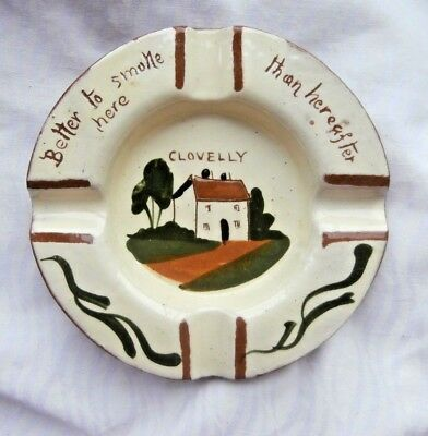 Vintage Watcombe Pottery Motto Ashtray 'Better to smoke here - than hereafter'