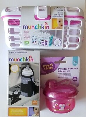 Munchkin Dishwasher Basket Travel Bottle Warmer Parents Choice Formula Dispenser