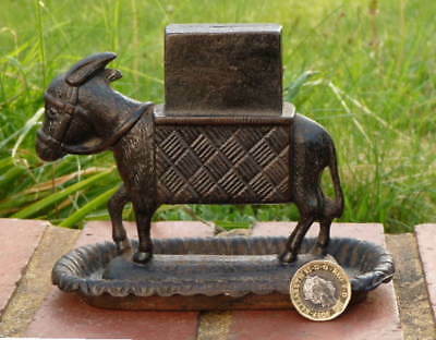 VICTORIAN ANTIQUE IRON DONKEY - MATCH & VESTA DISPLAY STAND for BRYANT & MAY