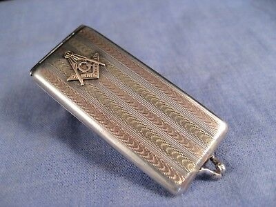 Art Deco Antique Sterling Silver & Gold Stamp Case Chatelaine Masonic Ticket Box