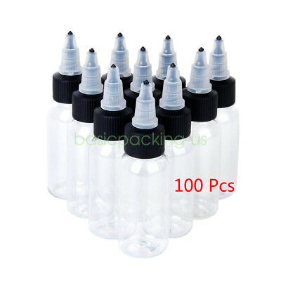 US STOCK 100Pcs 30ml Empty Plastic PET TWIST Cap Liquid Tatoo Dropper Bottles