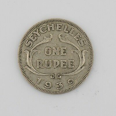 Seychelles 1939 One Rupee Silver Coin