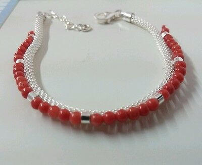 Natural italian Red Coral Beads  Bracelet authentic,  sterling silver clasp