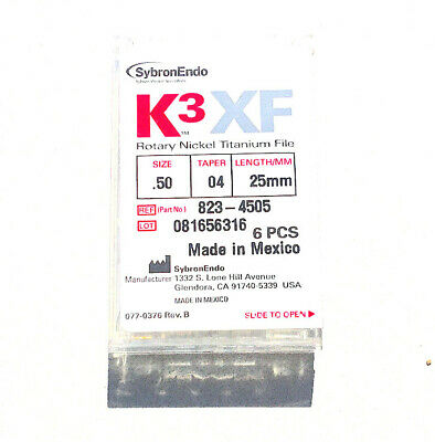 K3 XF size 25 Taper 06 25 mm Rotary Nickel Titanium Endodontic File SybronEndo