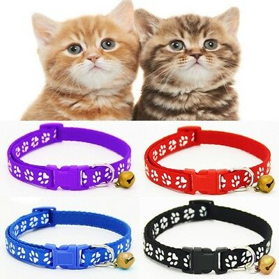 UK PAW PRINT ADJUSTABLE CAT COLLAR WITH BELL Kitten Puppy Animal Pet Gift Idea