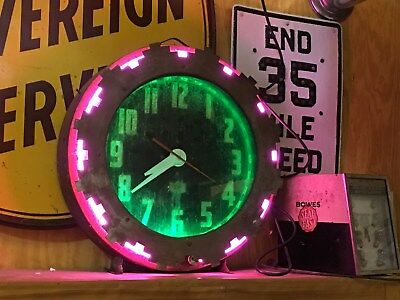 Original Vintage Aztec Neon Clock Cleveland ? AnTiQue Old WORKS! Gas Oil Sign