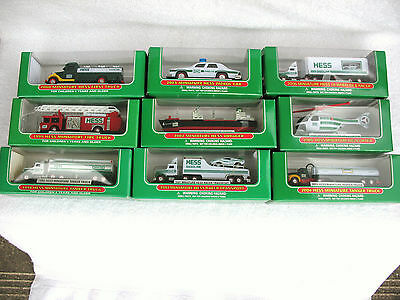 Set of 9 HESS Vehicle Minatures 1998 - 2006,  MINT in their Original Boxes