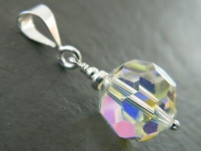 Vintage Large Aurora Borealis AB Faceted Glass Crystal Bead & 925 Silver Pendant