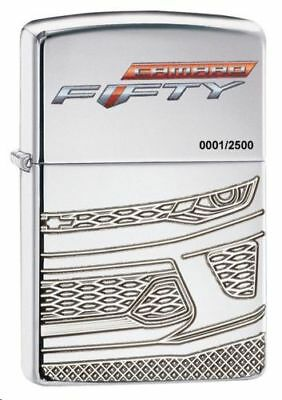 "Zippo ""Chevy Camaro 50th Anniversary"" HP Chrome Lighter, Limited to 2500, 29478"