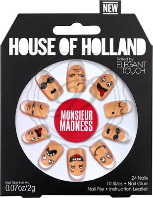 House Of Holland False Nails - Elegant Touch Face Print Funny Bright Fake Long