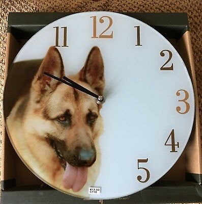 "Dog Best Of Breed Glass Clock Alsatian Boxed 12"" Dial Battery Operated"