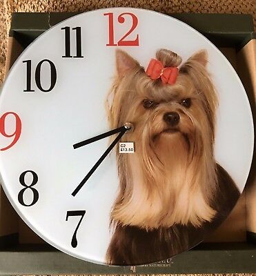 "Dog Best Of Breed Glass Clock Yorkshire Terrier Boxed 12"" Dial Battery Operated"