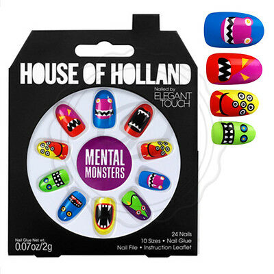 House Of Holland False Nails - Elegant Touch Monsters Funny Bright Fake Long