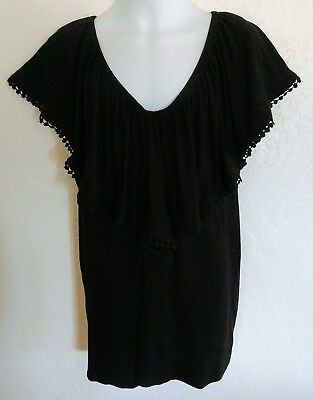 Pleione Black Angel Sleeve Lace Trim V Neck Front And Back Soft Shirt Size Large