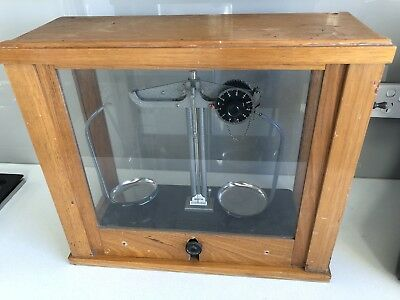 HB Selby scientific scales in glass case