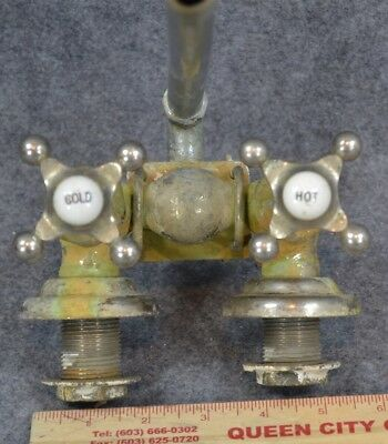 antique faucets brass nickel hot cold porcelain  original 1900-1930