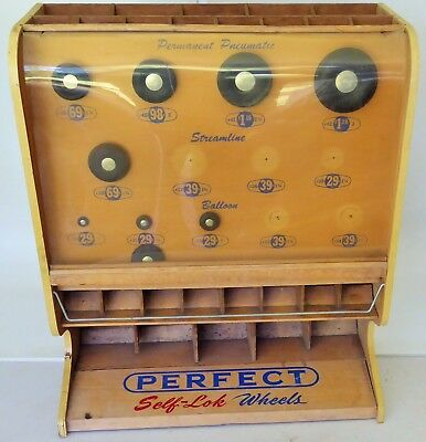 """1950 Perfect Pneumatic Wood Store Display/items Rc Balloon Tire Dispenser 20.5"""""""