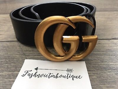 "Hot Deal !!! Womens Genuine Leather Belt  ""GG"" Logo Style Belt Size 90"
