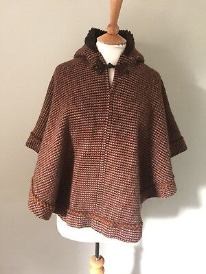 Vintage Children's 60s'/70's Brown Wool Knit Fur Lined Hooded Poncho Cape O/S