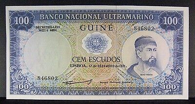 1971 Portugese Guinea, National Bank, 100 Escudos Nice  ** FREE U.S. SHIPPING **