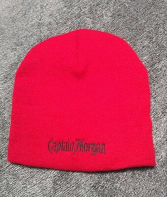 68a0d31563e CAPTAIN MORGAN red w black stitching knit hat skull cap beanie- ONE