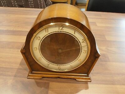 Vintage Walnut Cased Mantel Clock with manual wind English Movement