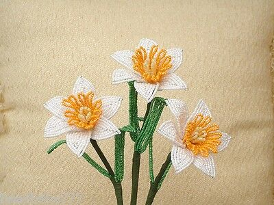 ** French Beaded Flowers ** 3 Handmade White and Orange Daffodils  **