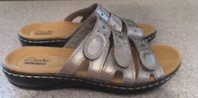 2ff368510029 Clarks Womens Leisa Cacti Pewter Leather Slides Sandals Shoes 00441 size  5.5 M