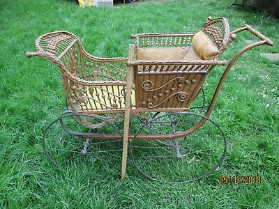 VICTORIAN BABY CARRIAGE WITH UMBRELLA - RATTAN ? - MADE by BREWSTER