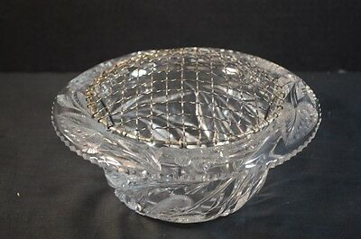 Antique American Wheel Cut Crystal Bowl with Metal Wire Flower Frog