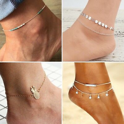 Silver Tone Anklet Ankle Bracelet Foot Chain Double Chain with Stars