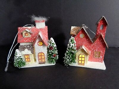2 Christmas Ornament LED Houses Midwest Cannon Falls Samples