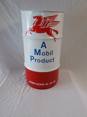 Vtg-Style MOBIL Oil 16-Gal Oil Drum-Barrel~Use as Trash Can~Accent Garage Decor
