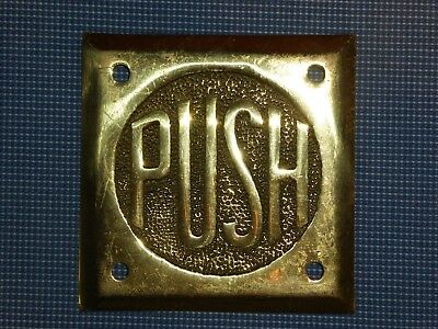RARE 1930s OLD ORIGINAL ART DECO PERIOD BRASS ''PUSH'' DOOR SIGN VINTAGE ANTIQUE