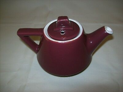 Vintage 1960's HALL USA SUPER CERAM Teapot ~ Art Deco Styling ~ Deep Maroon