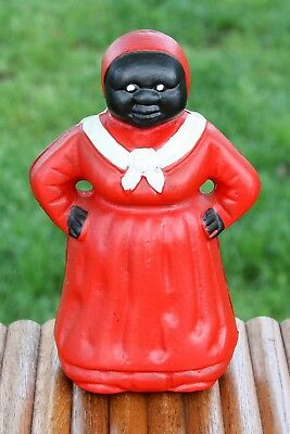 "Vintage Cast Iron Black Americana Aunt Jemima Mammy Coin Bank 7 3/4"" Tall"