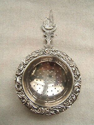 Antique Silverplate Tea Strainer Repousse Holland