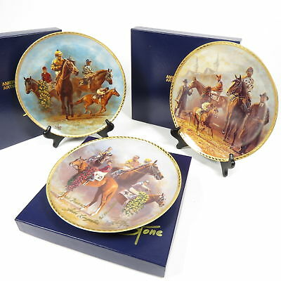 SET OF 3 FRED STONE AMERICAN TRIPLE CROWN COMMEMORATE PLATE ARTIST w COA & BOXES
