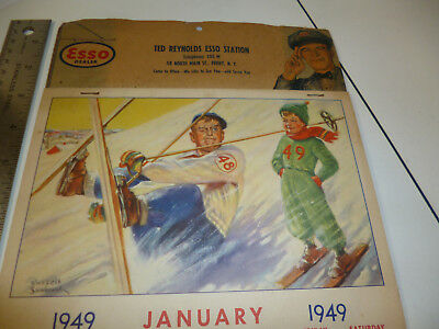 Ted Reynolds Esso Perry NY 1949 Advertising Calendar Russell Sambrook Art