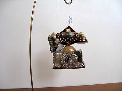 New Christmas ornament, glass.Poland.Victorian /retro/ antique style telephone.