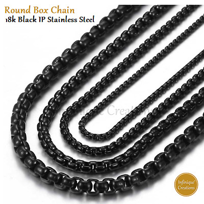 "18k IP Black Gold Plated Stainless Steel Round Box Chain Necklace 1.5-5mm 7""-38"""