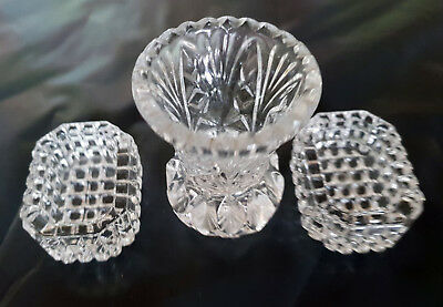 Small Antique/vintage Handmade cut glass vase and matching dish
