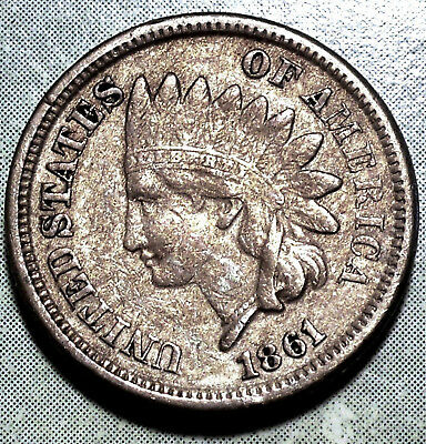 1861 Indian Head Penny XF to AU Red Brown ORIGINAL Civil War LUSTER Cop-Nic