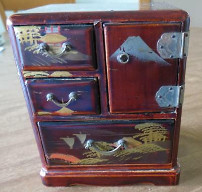 Occupied Japanese 1945-52 Hina Doll House Miniature Furniture Chest Wood Tonsu