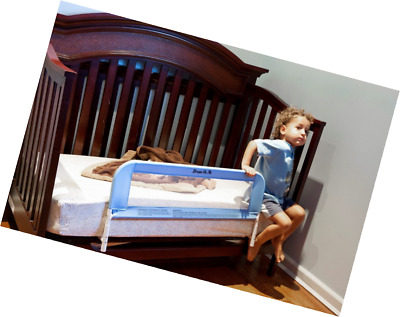 "Convertible Crib Rail Toddler Blue Baby Kids Bed Safety Mesh 33"" Long Fastens"