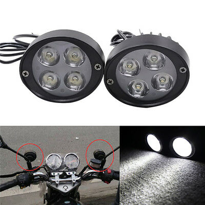 2x Universal 4 LED Motorcycle Work Spot Fog Driving Light DRL Headlight Lamp!
