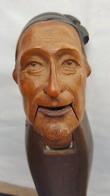 Vintage Carved Wooden Black Forest Treen Nutcrackers Old Man in Cap - Scrooge?