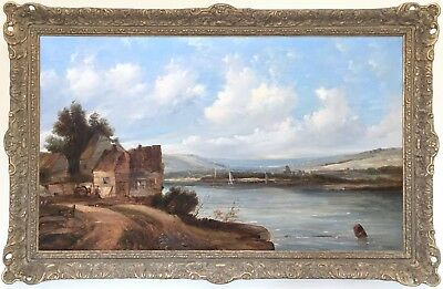 Figures in a River Landscape Antique Oil Painting 19th Century British School